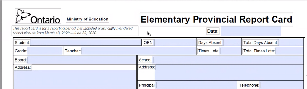 Required Comments on Ontario Standard Report Cards for Elementary Schools