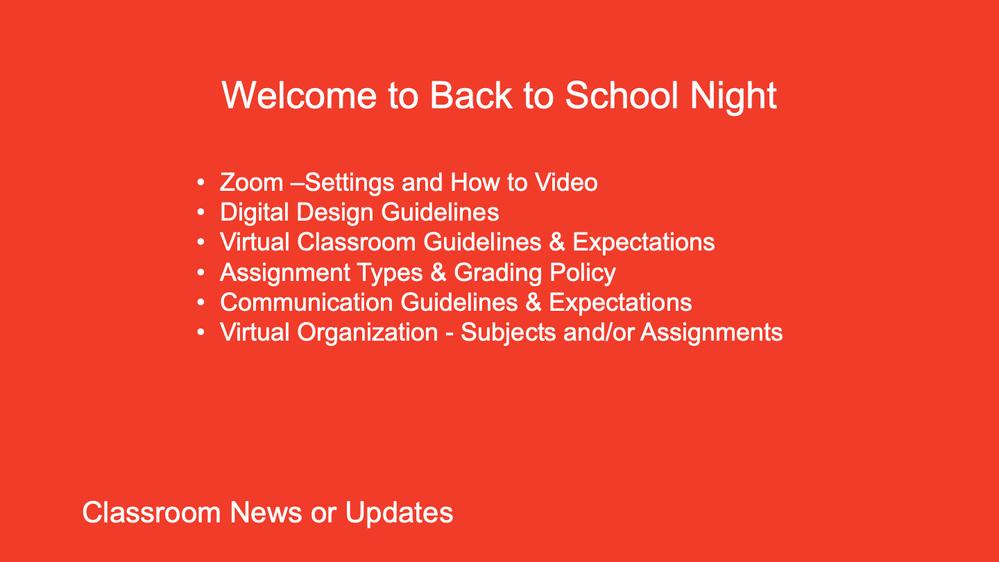 Virtual Back to School Night Demonstration