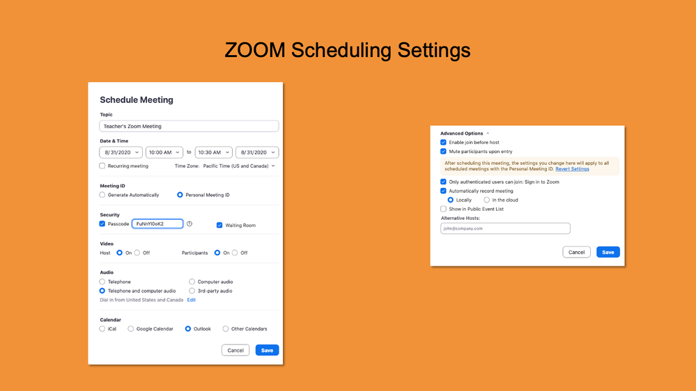 Zoom Scheduling Settings