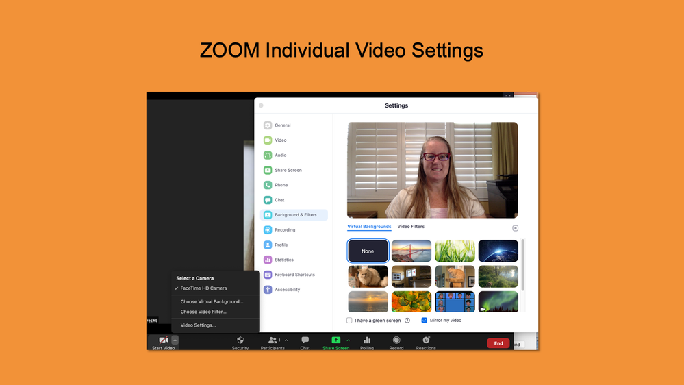 Zoom Video Settings - Virtual Background
