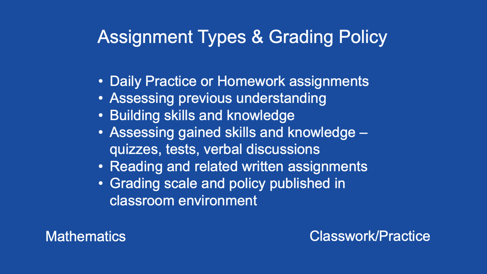 Assignment Types and Grading Policy