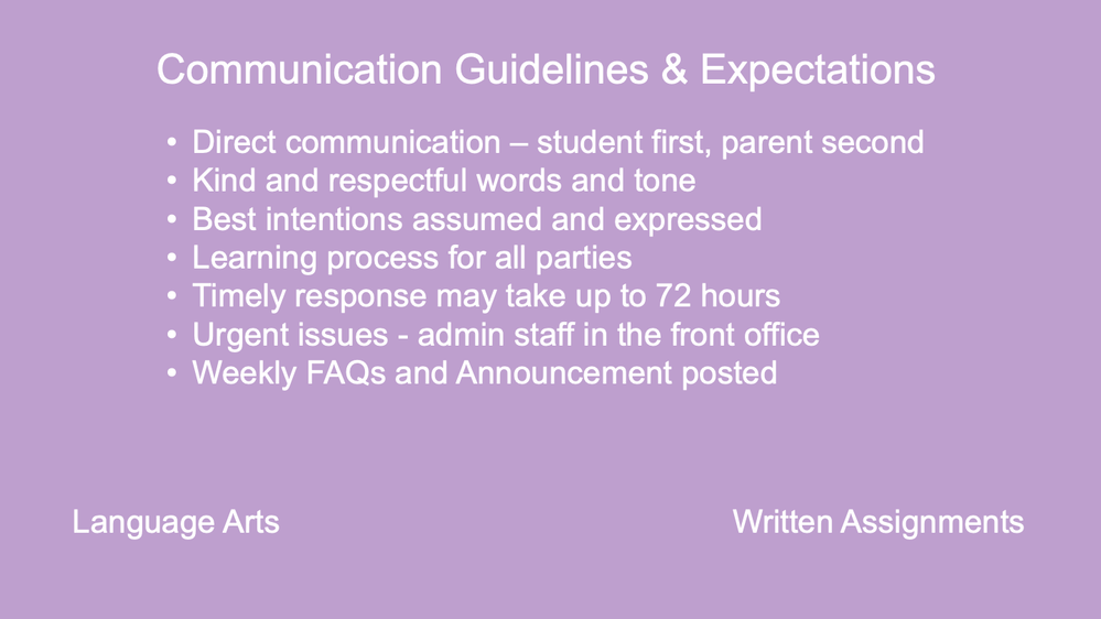 Communication Guidelines & Expectations